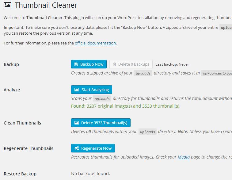 Thumbnail-Cleaner Zmniejszenie ilości generowanych miniatur