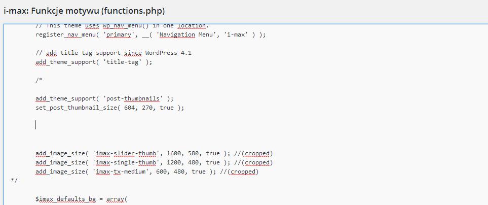 Zmniejszenie ilości generowanych miniatur functions-php